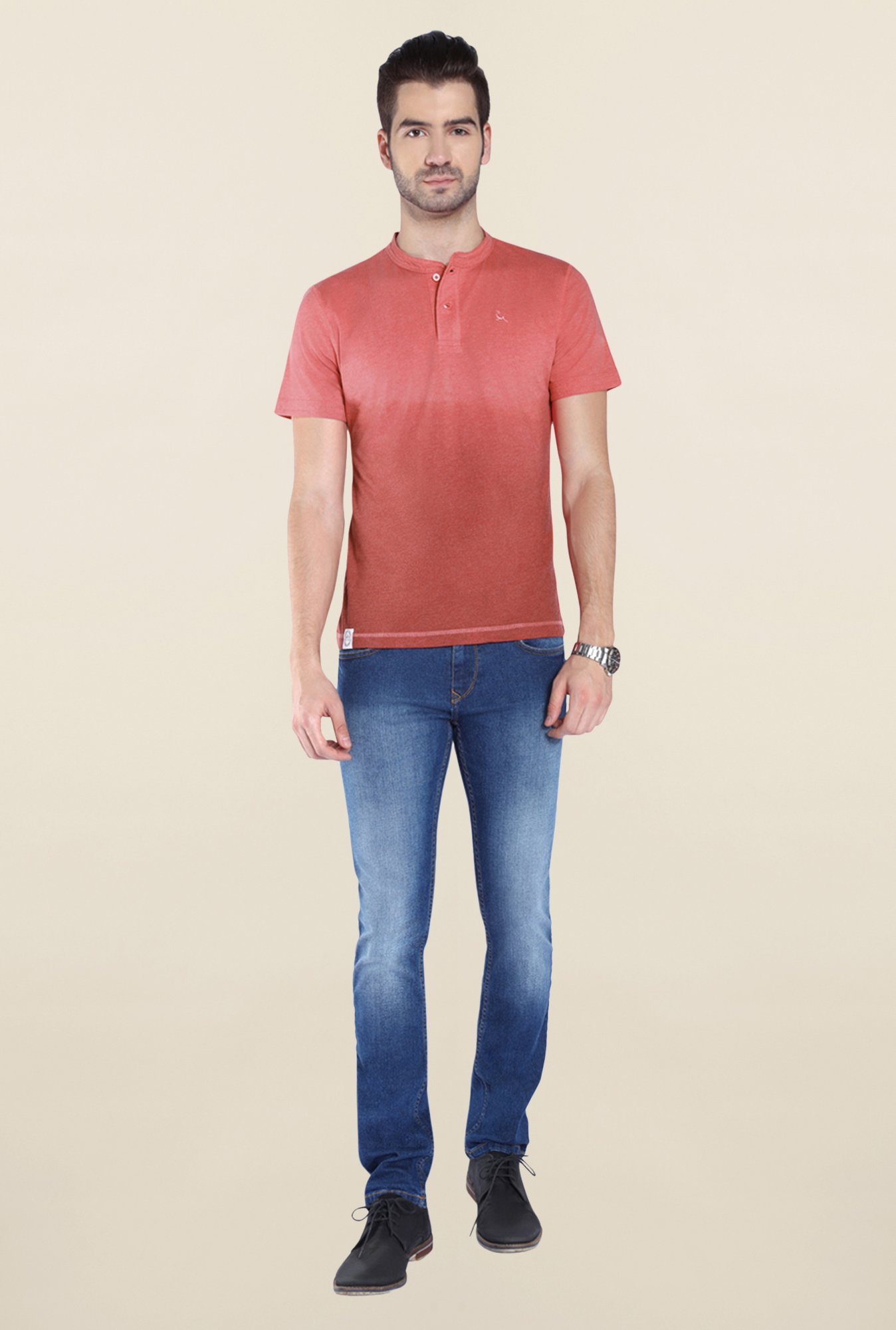 Parx Red Ombre Henley Neck T Shirt