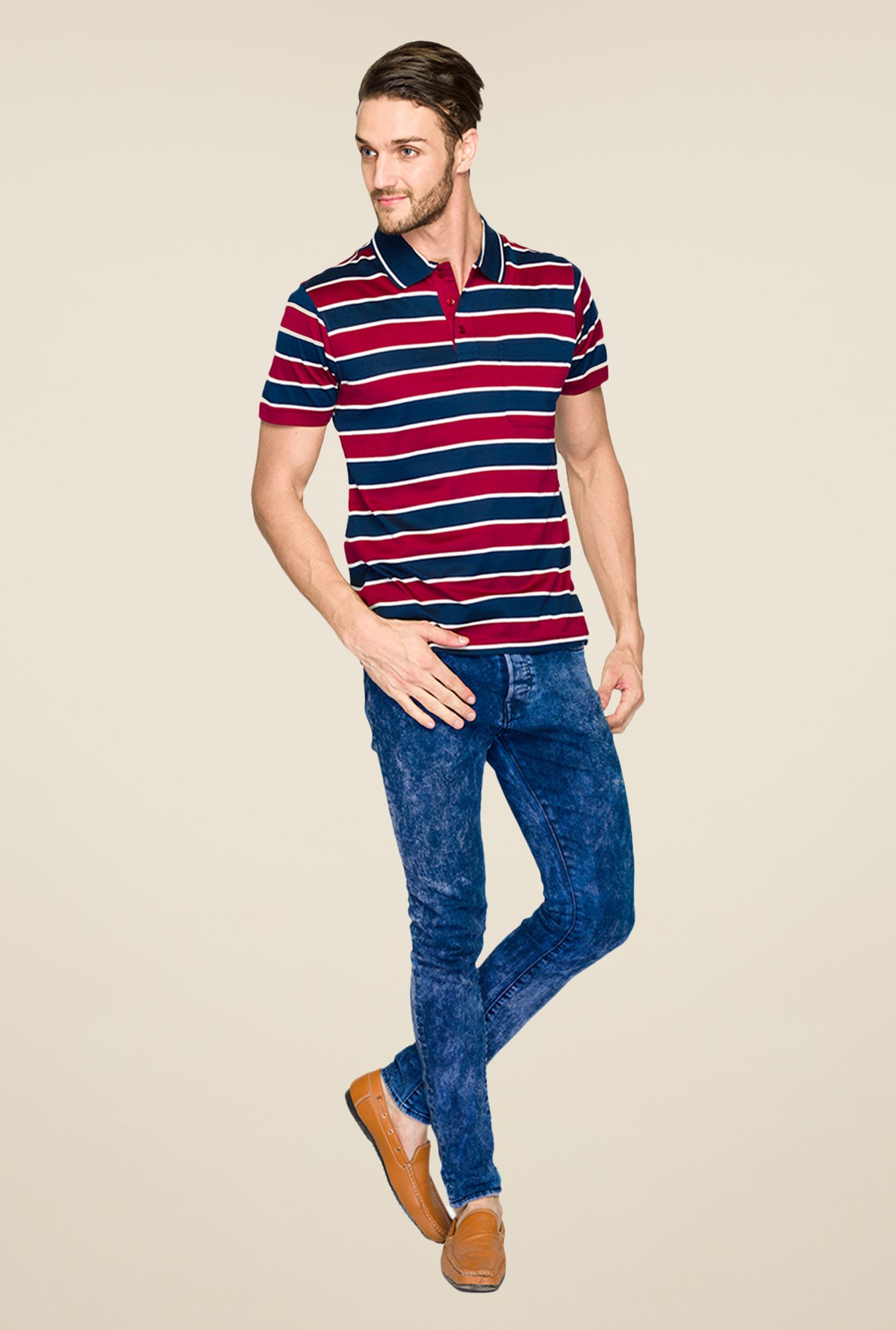 Raymond Maroon & Navy Striped Polo T Shirt