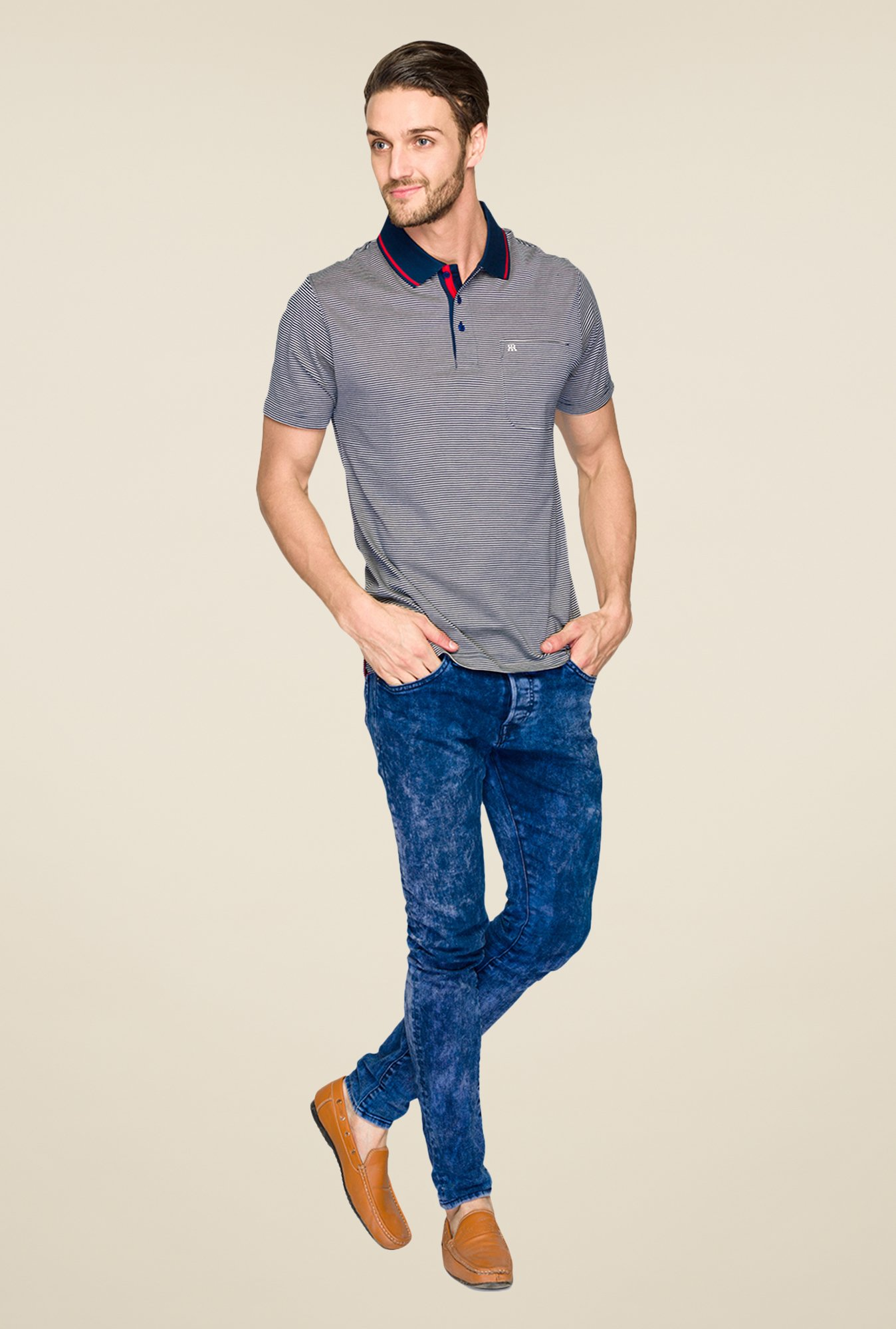 Raymond Dark Blue Striped Polo T Shirt