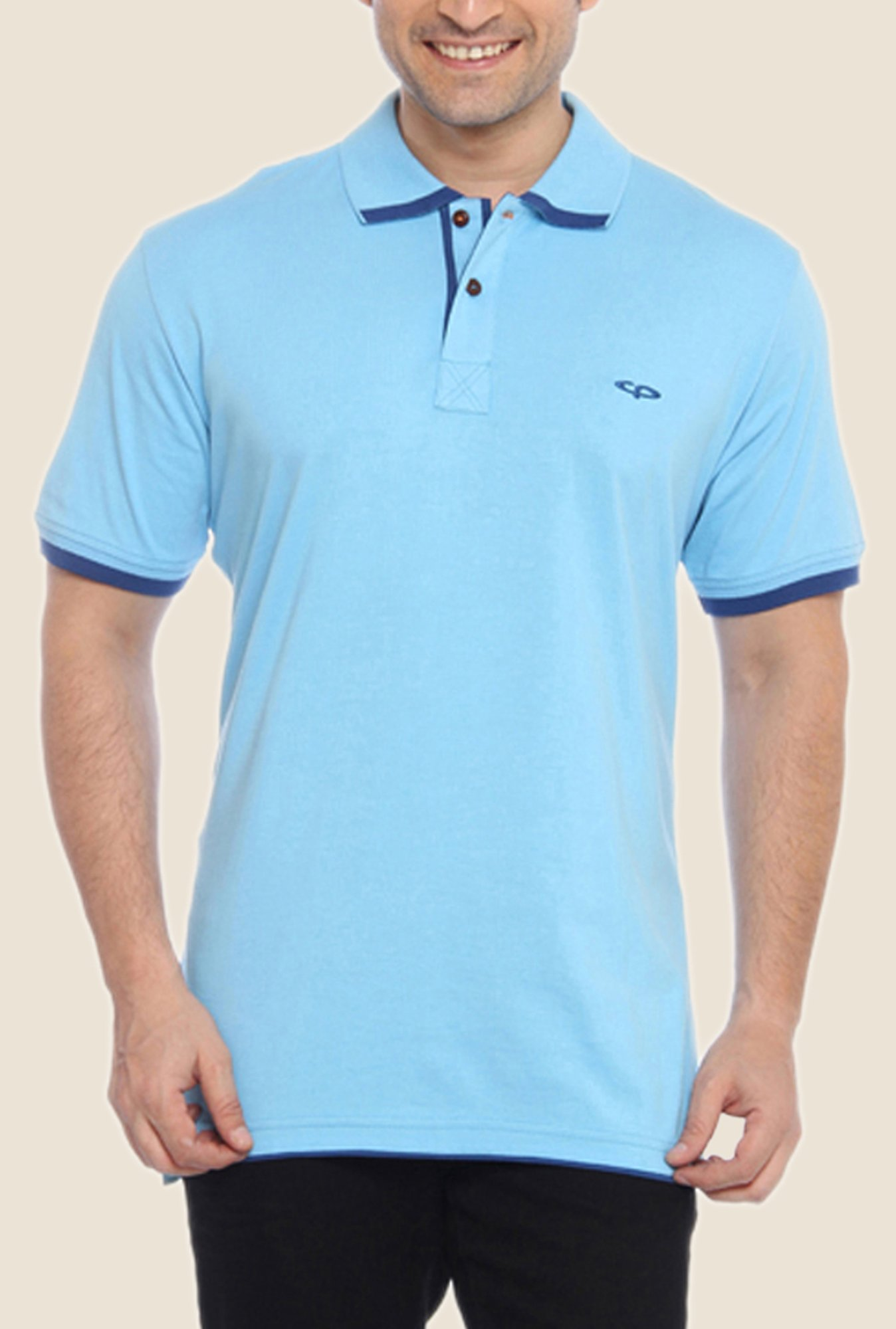 ColorPlus Light Blue Solid Polo T Shirt