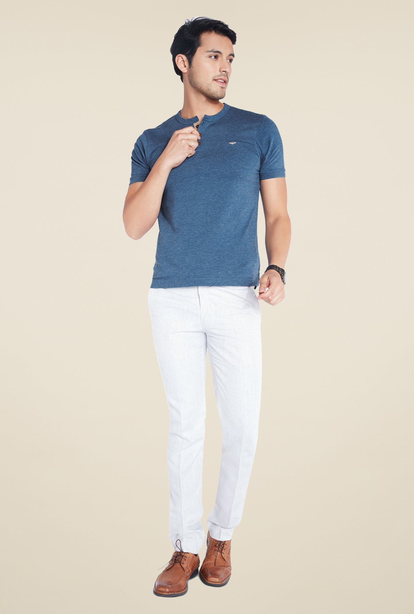 Park Avenue Navy Solid Henley Neck T Shirt