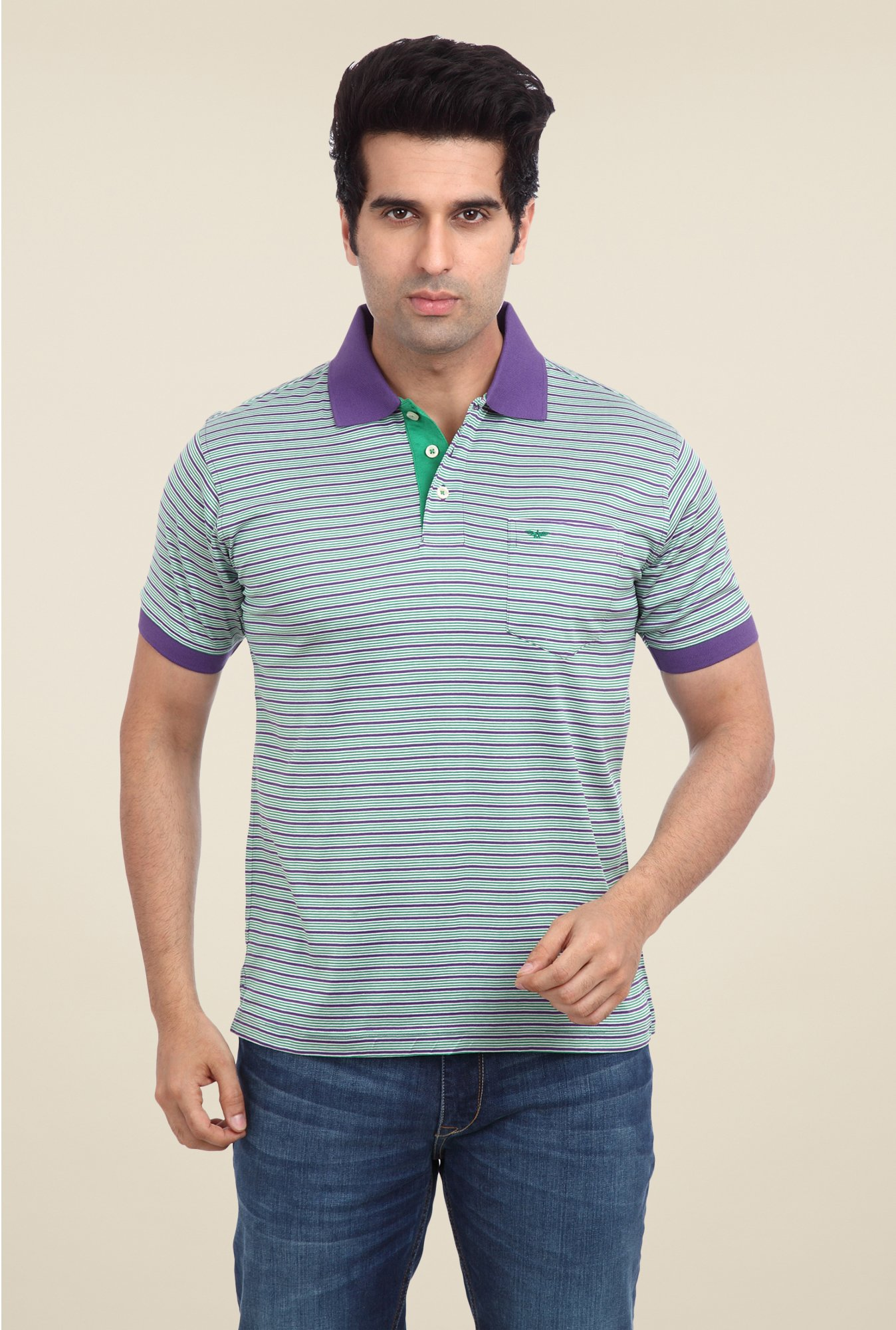 Park Avenue Purple & Green Striped Polo T Shirt