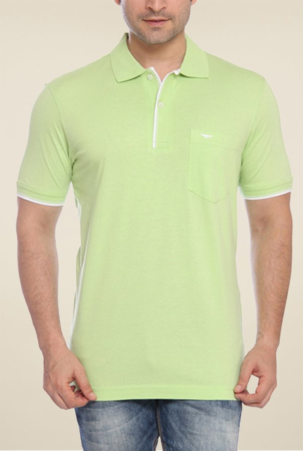 Park Avenue Green Solid Polo T Shirt