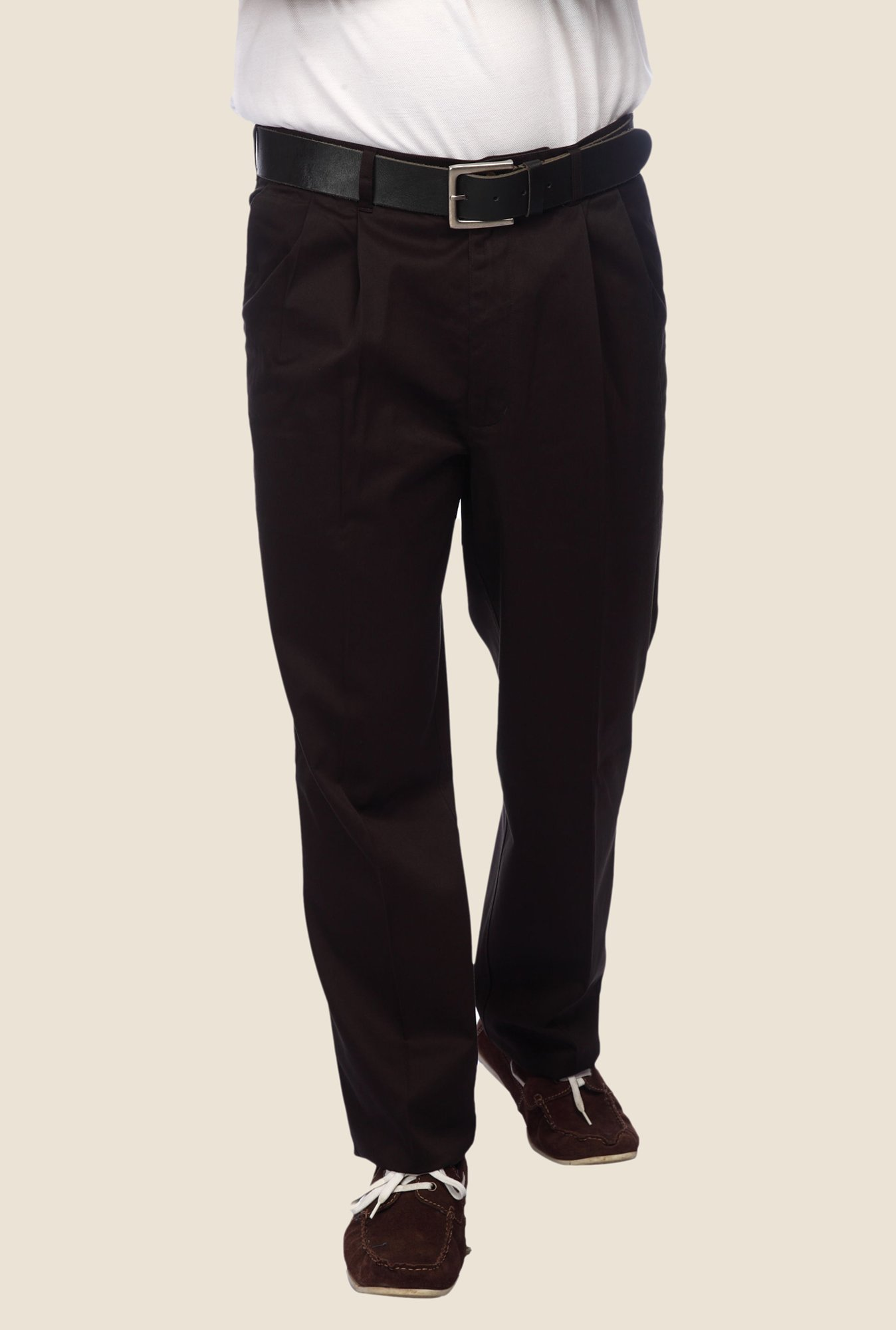 ColorPlus Dark Brown Solid Trouser