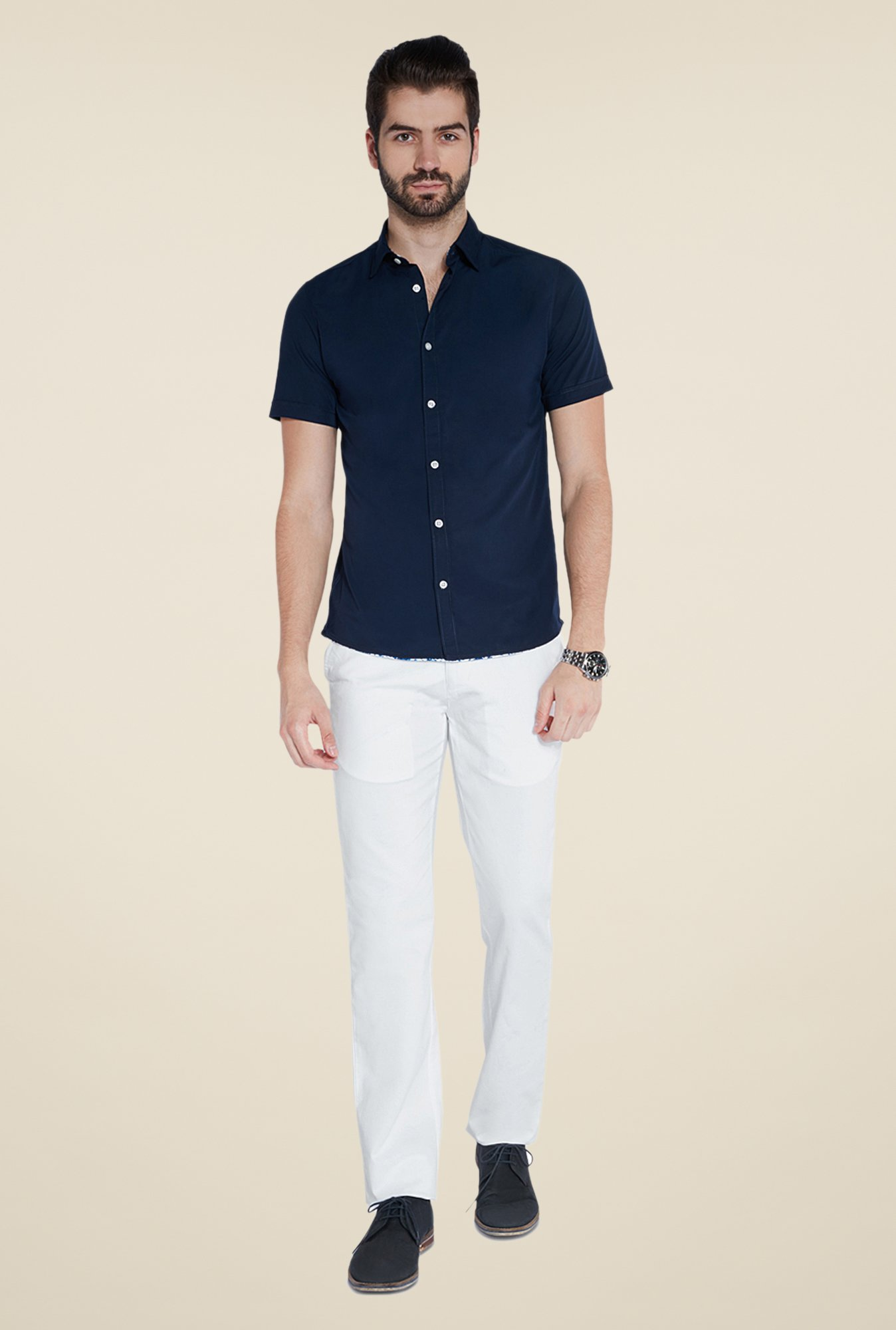 Parx White Solid Trouser