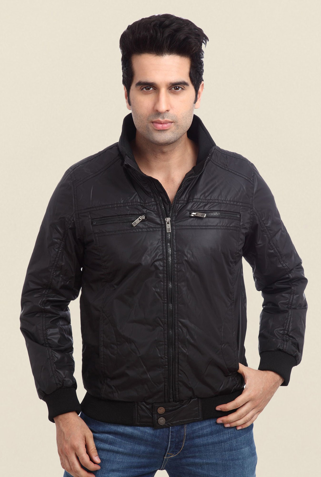 Park Avenue Black Solid Jacket