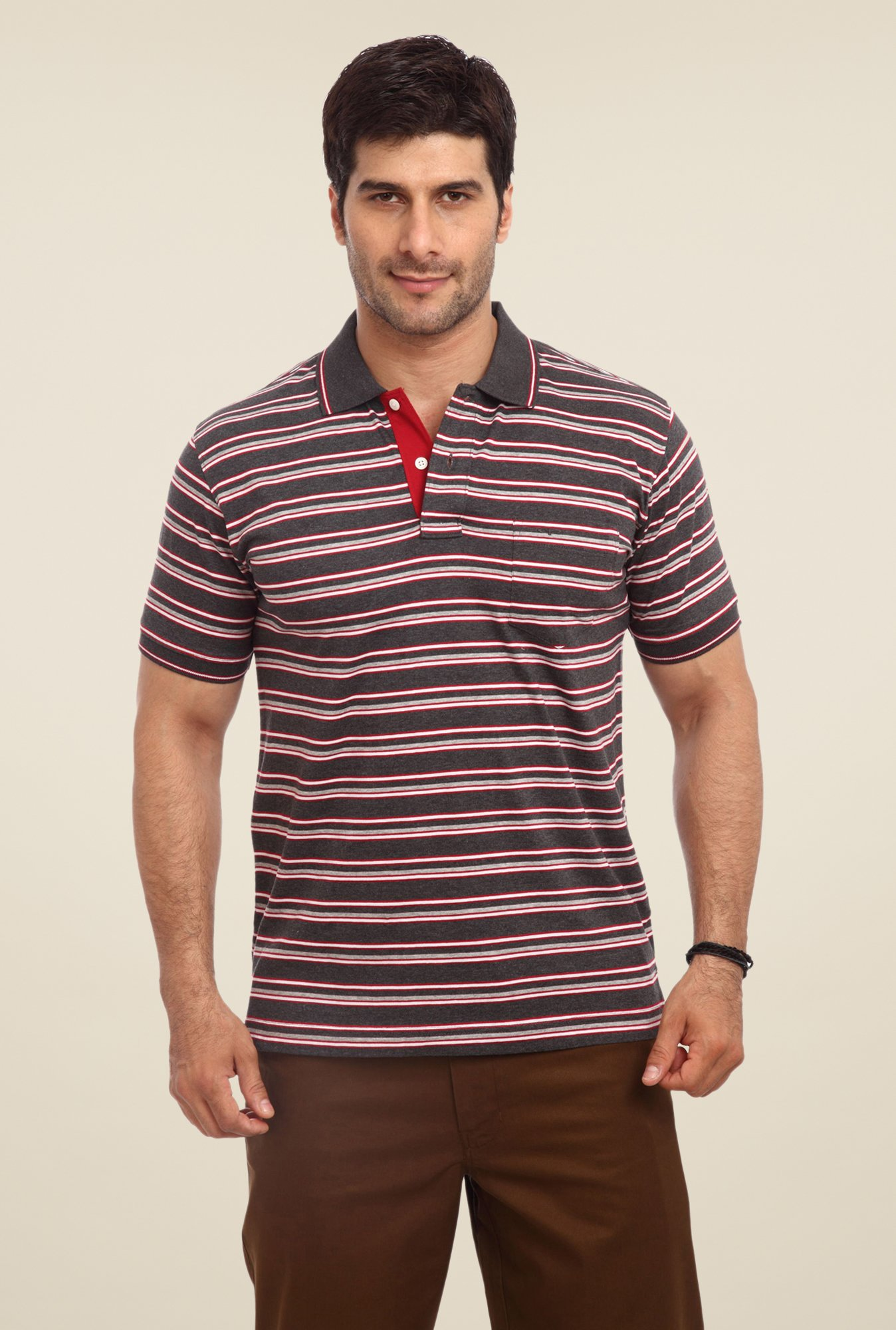 ColorPlus Grey Striped Polo T Shirt