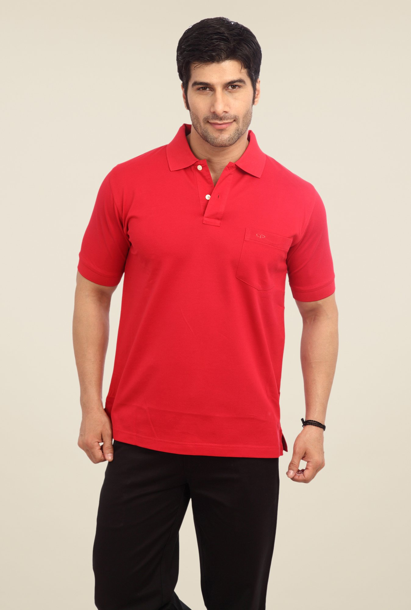 ColorPlus Red Solid Polo T Shirt