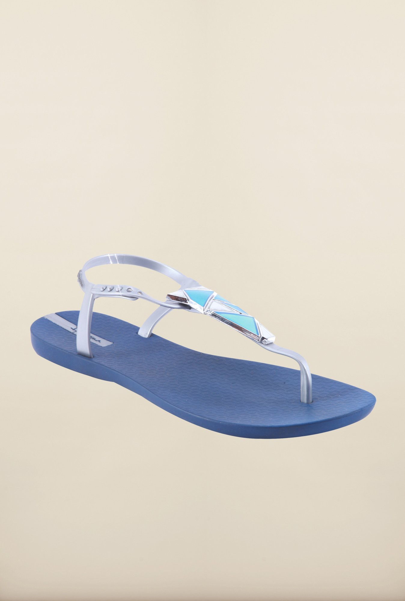 Ipanema Silver & Blue Ankle Strap Sandals