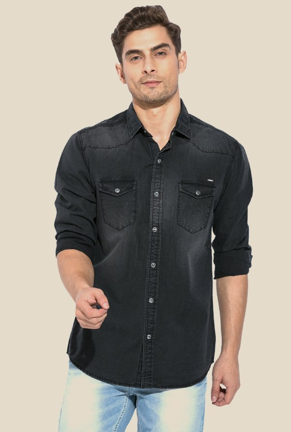 Mufti Black Solid Cotton Shirt