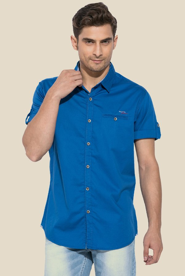 Mufti Royal Blue Cotton Shirt
