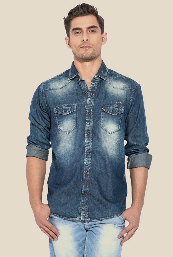 Mufti Blue Solid Cotton Shirt