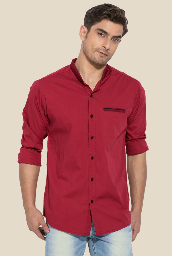Mufti Red Solid Shirt