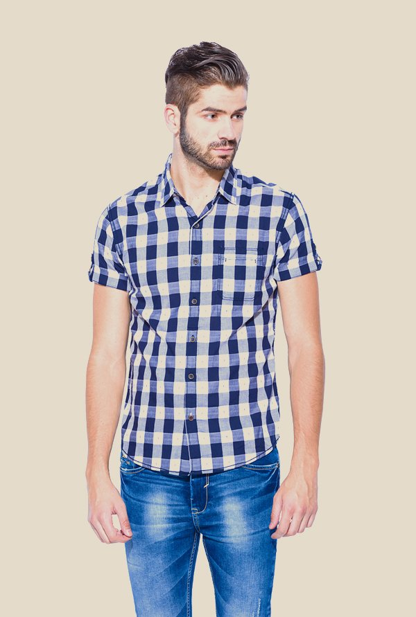 Mufti Navy Checked Shirt