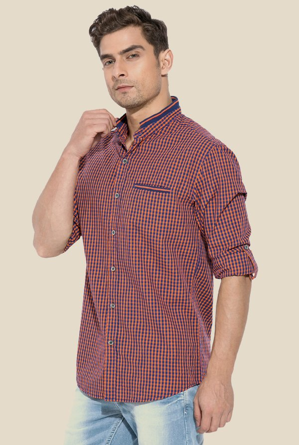 Mufti Orange & Blue Checked Shirt