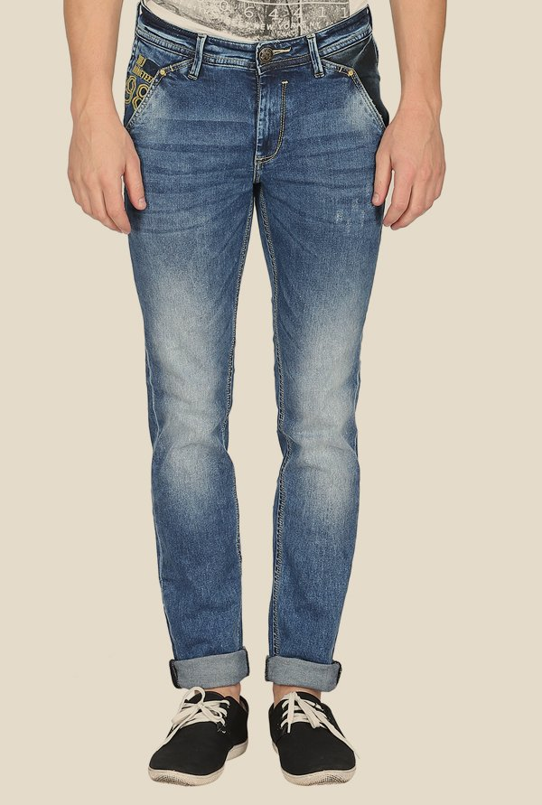 Mufti Blue Distressed Slim Fit Jeans