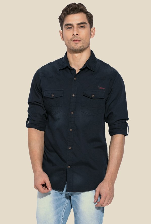 Mufti Navy Solid Cotton Shirt