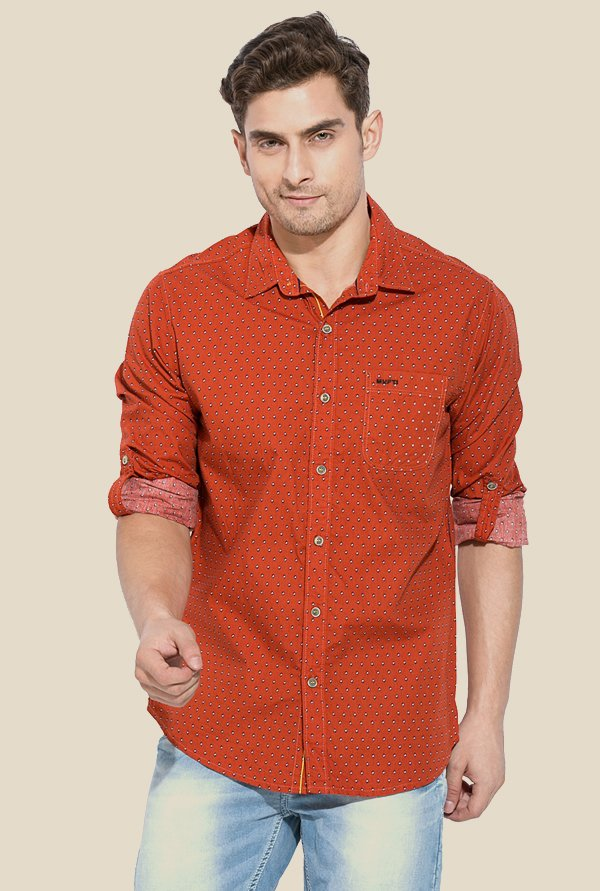Mufti Orange Printed Slim Fit Shirt