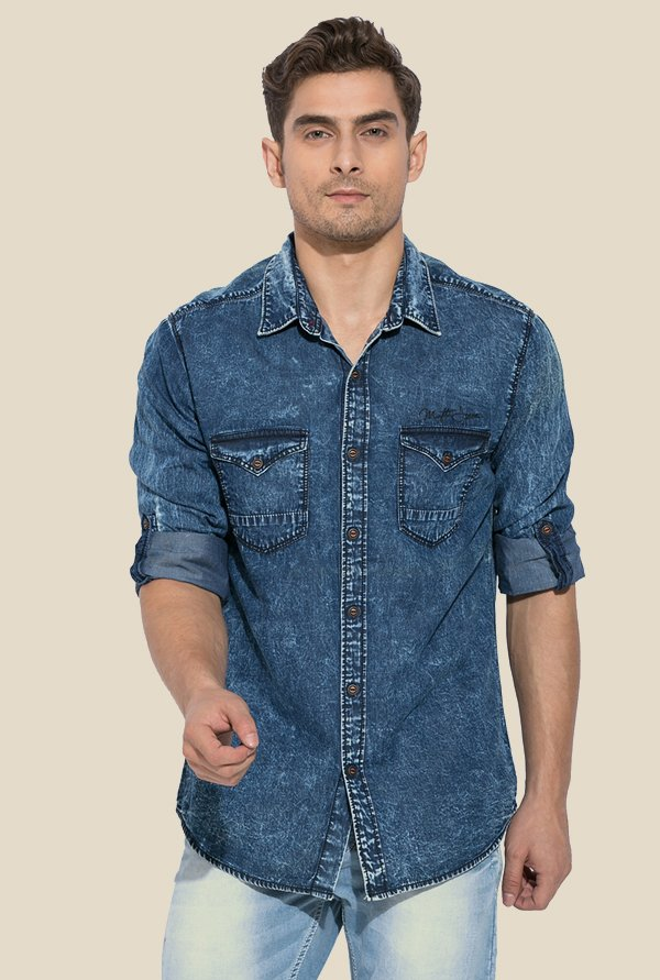 Mufti Denim Blue Solid Shirt