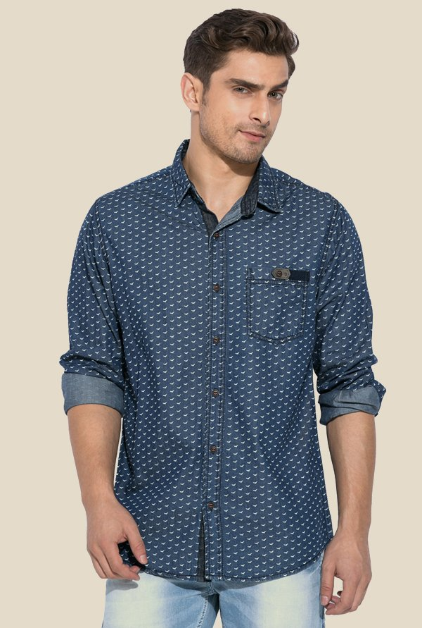Mufti Blue Printed Full Sleeves Cotton Shirt