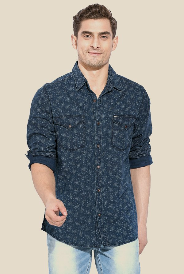 Mufti Blue Printed Full Sleeves Shirt