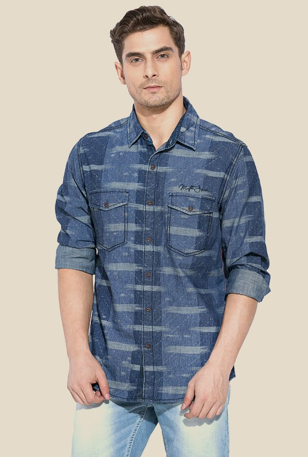 Mufti Blue Printed Slim Fit Shirt