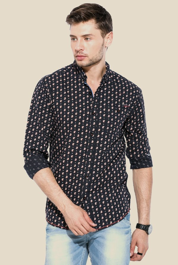 Mufti Navy Printed Full Sleeves Shirt