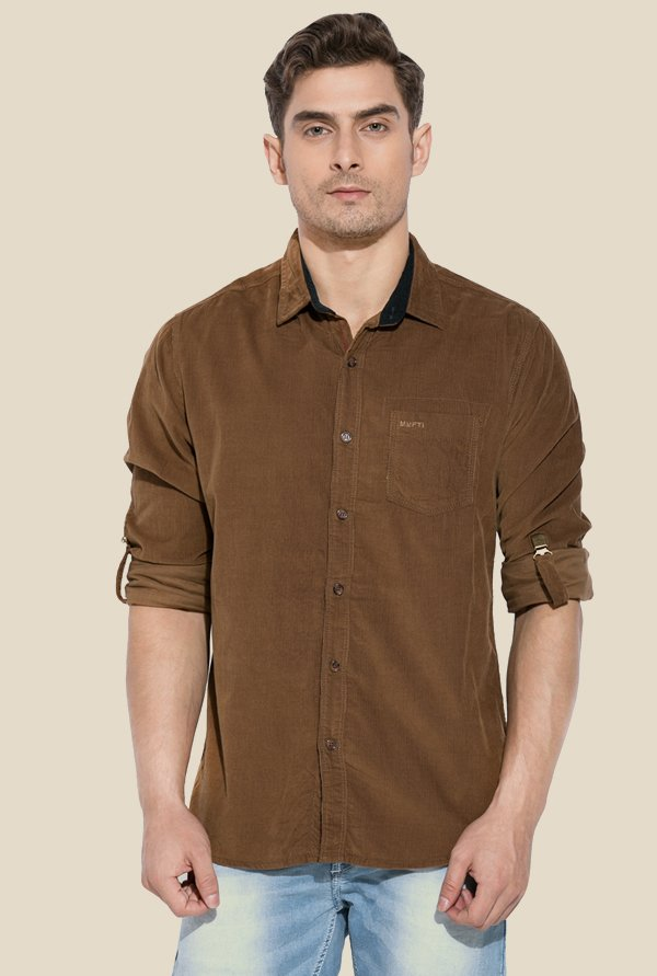 Mufti Brown Solid Full Sleeves Cotton Shirt