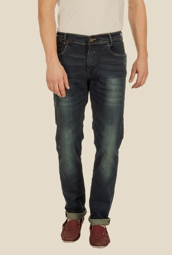 Mufti Blue Distressed Straight Fit Jeans