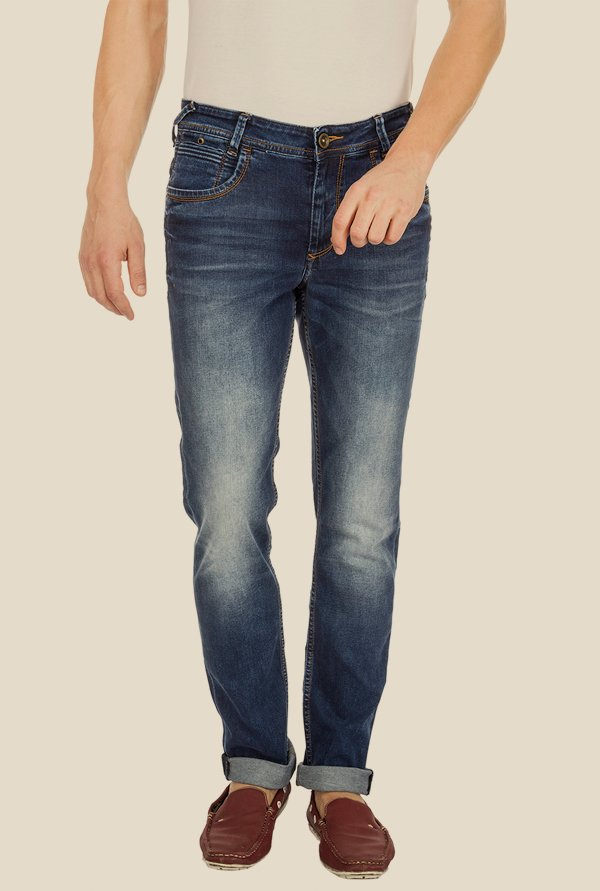 Mufti Dark Blue Acid Washed Jeans