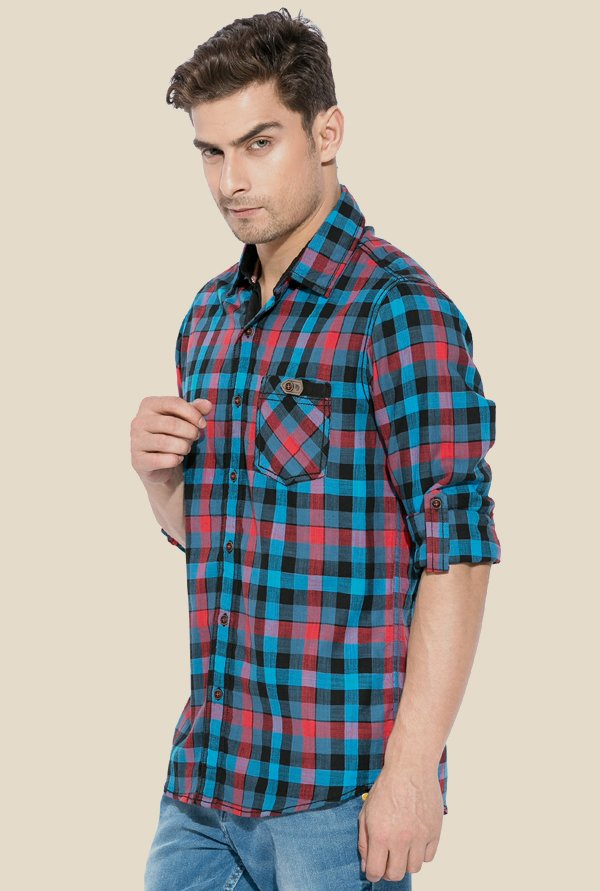 Mufti Red & Blue Checked Shirt