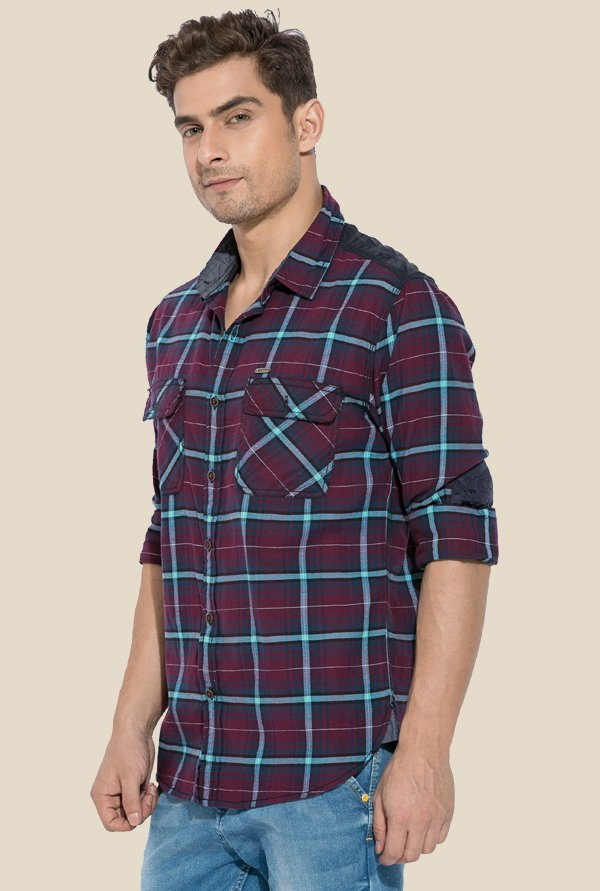 Mufti Wine Checked Shirt