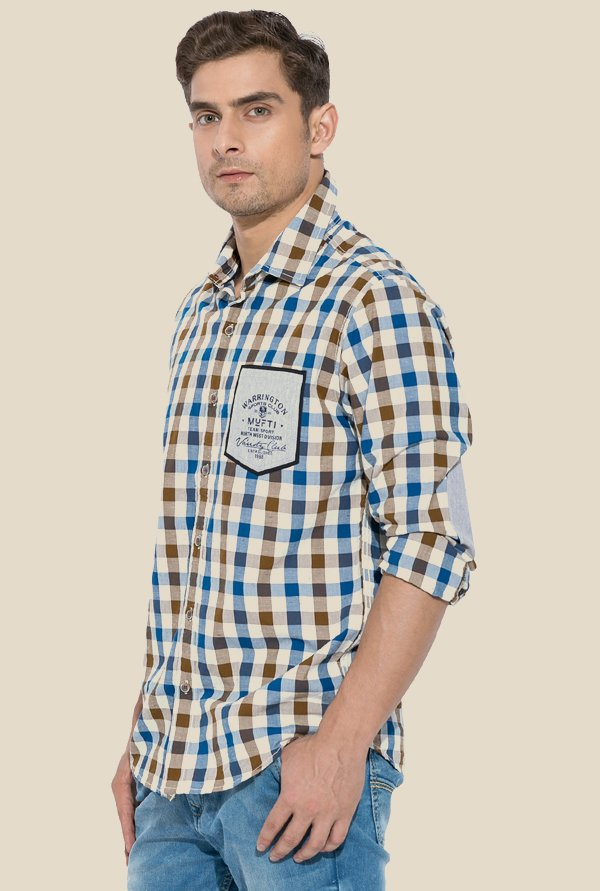 Mufti Brown & Blue Checked Shirt