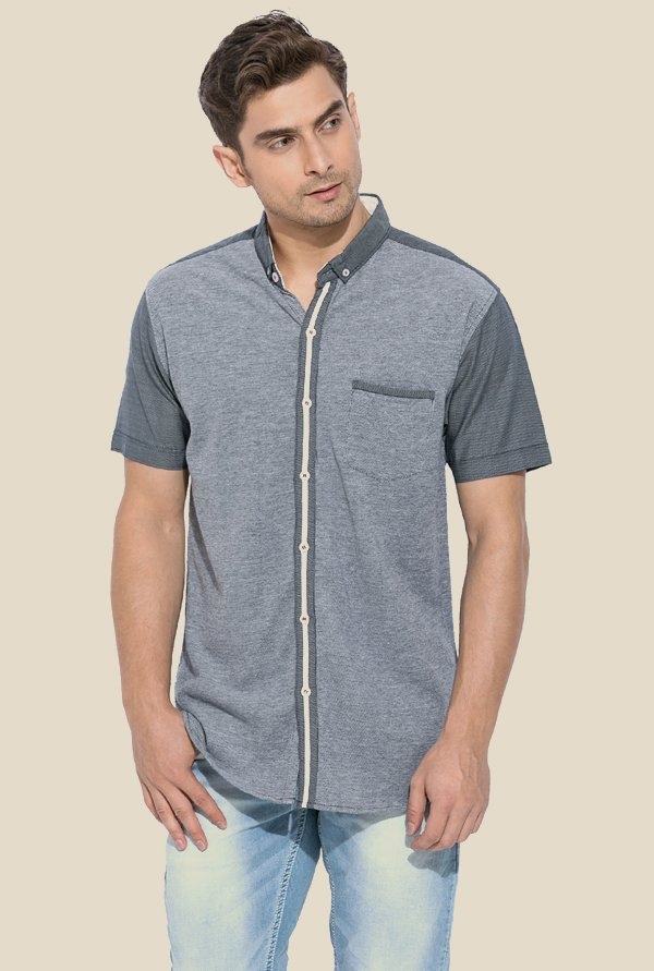 Mufti Grey Textured Half Sleeves Shirt
