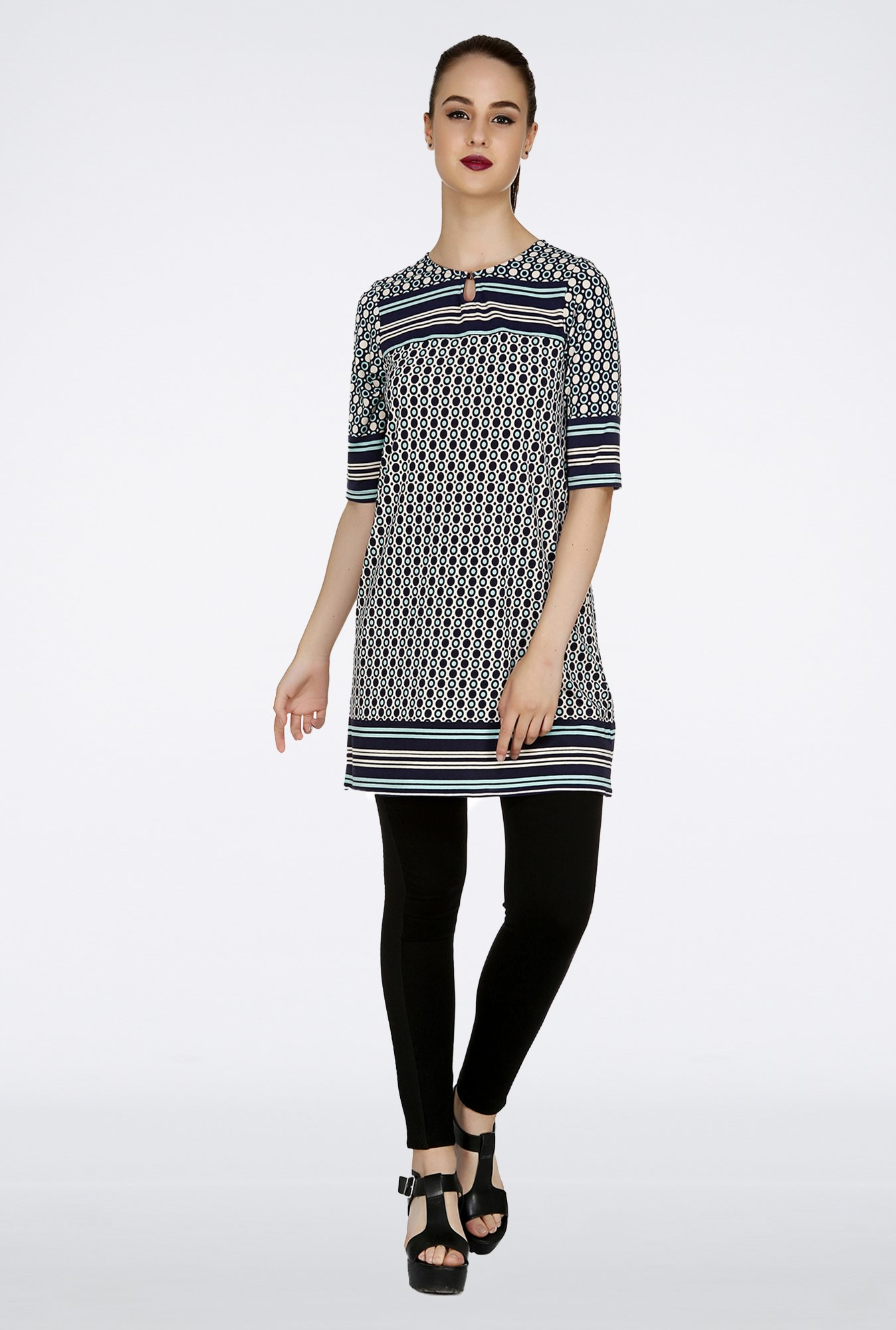 109 F Dark Blue Printed Tunic