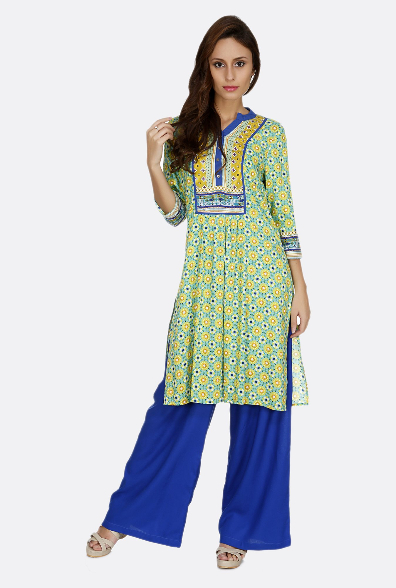 Fusion Beats Blue Printed Viscose Kurta