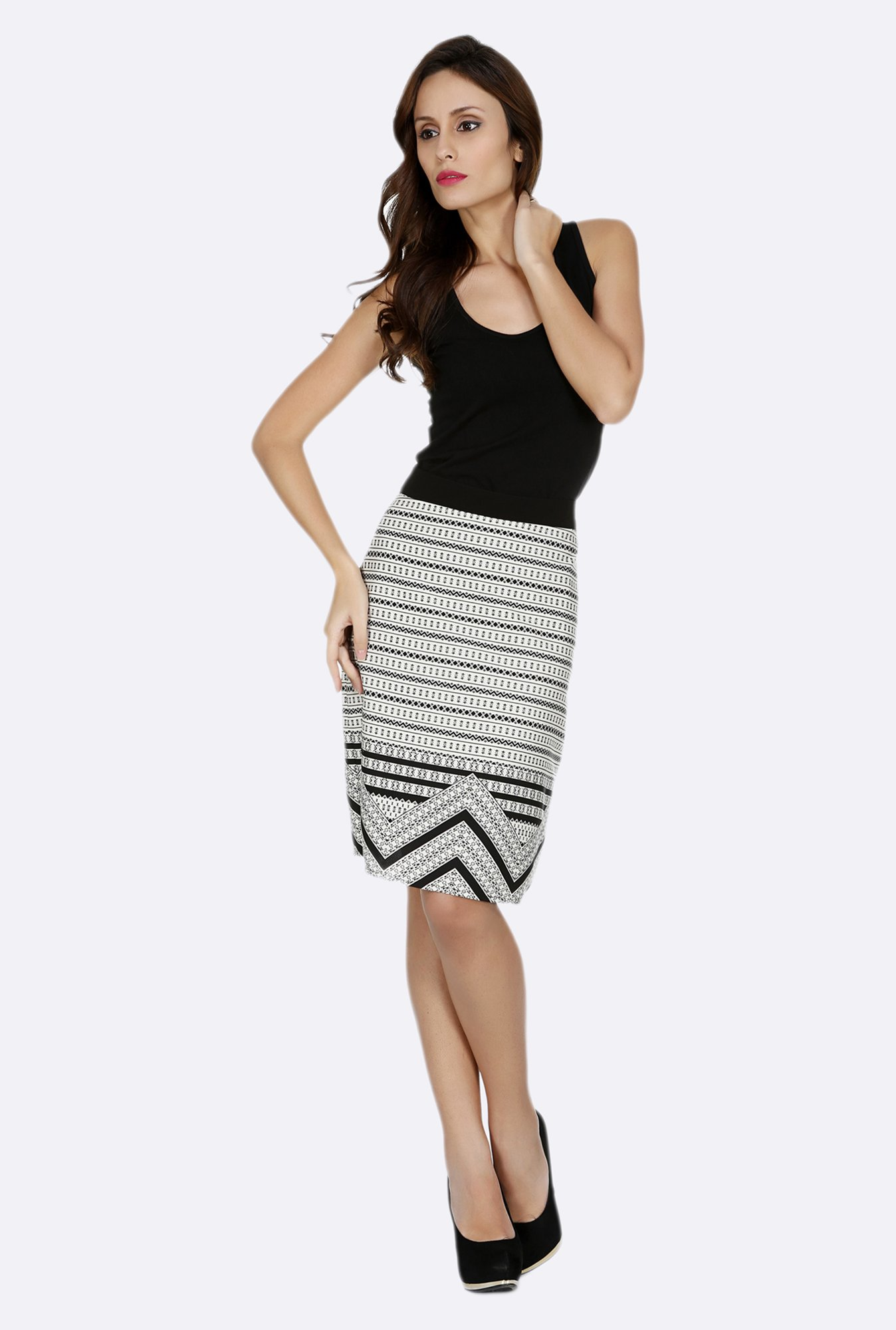 109 F Grey Printed Skirt