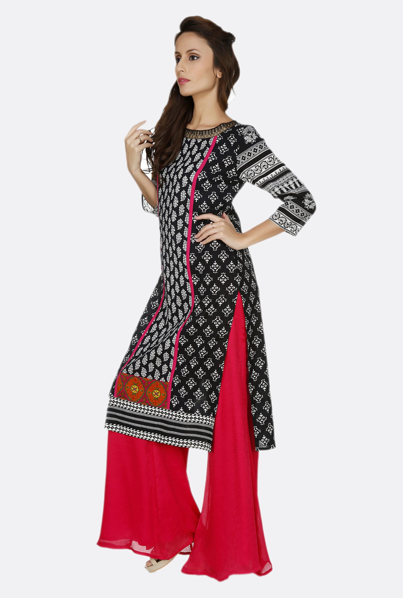 Fusion Beats Black Printed Boat Neck Kurta