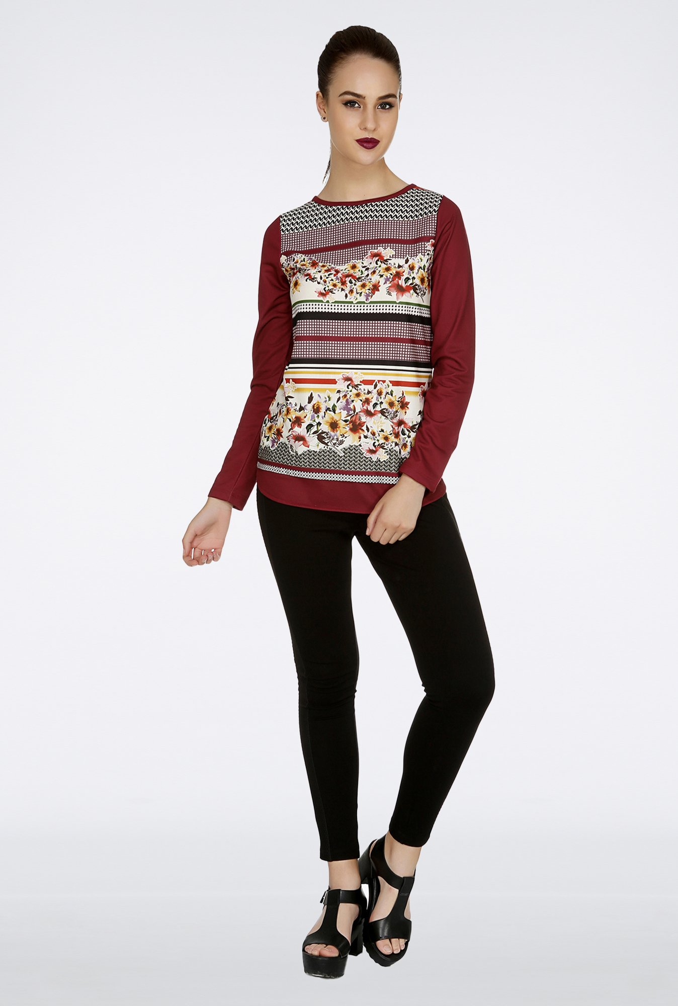 109 F Maroon Printed Top