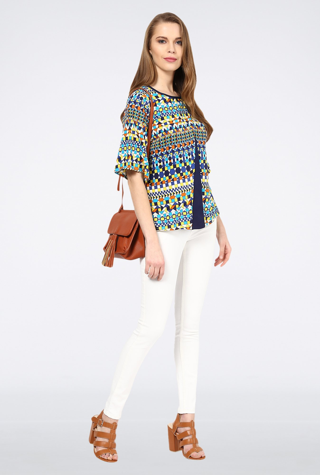 109 F Navy Printed Layered Top