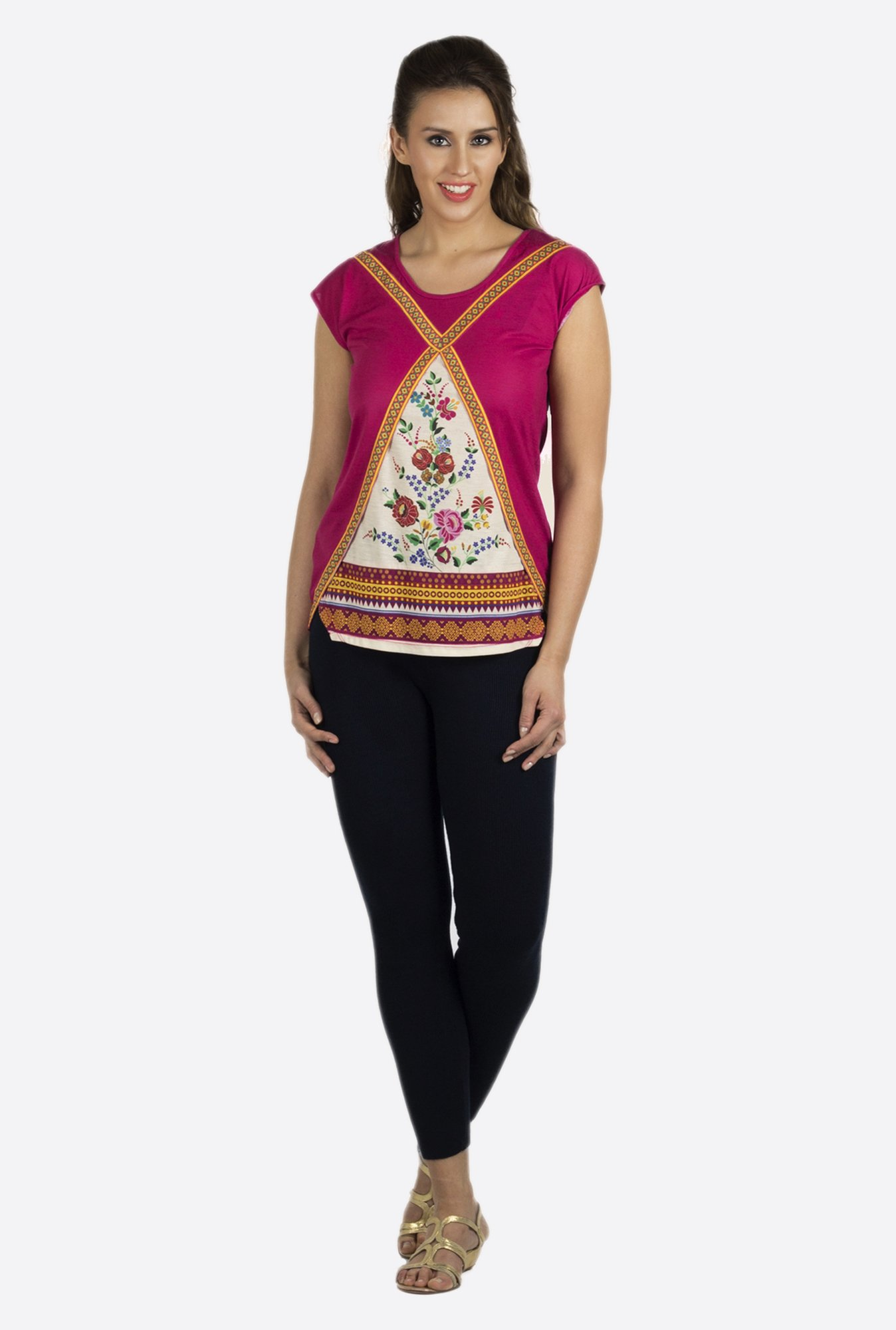 Fusion Beats Magenta Printed Top