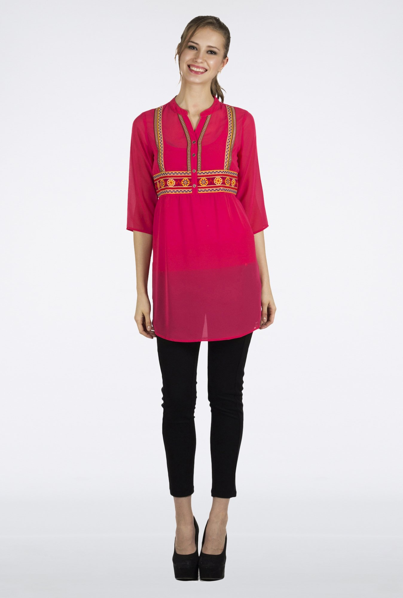 Fusion Beats Pink Embroidered Tunic