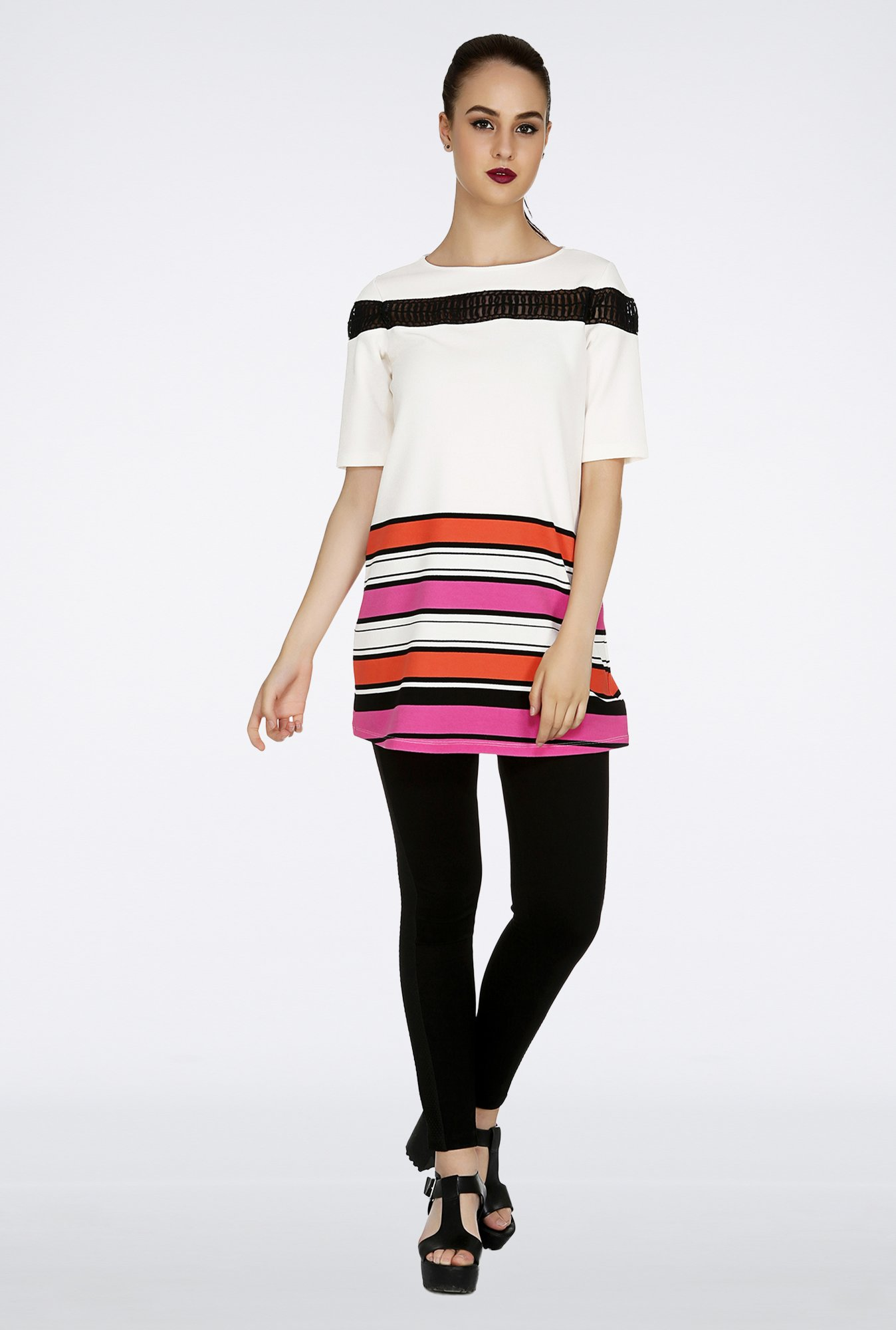 109 F Off-White Striped Tunic