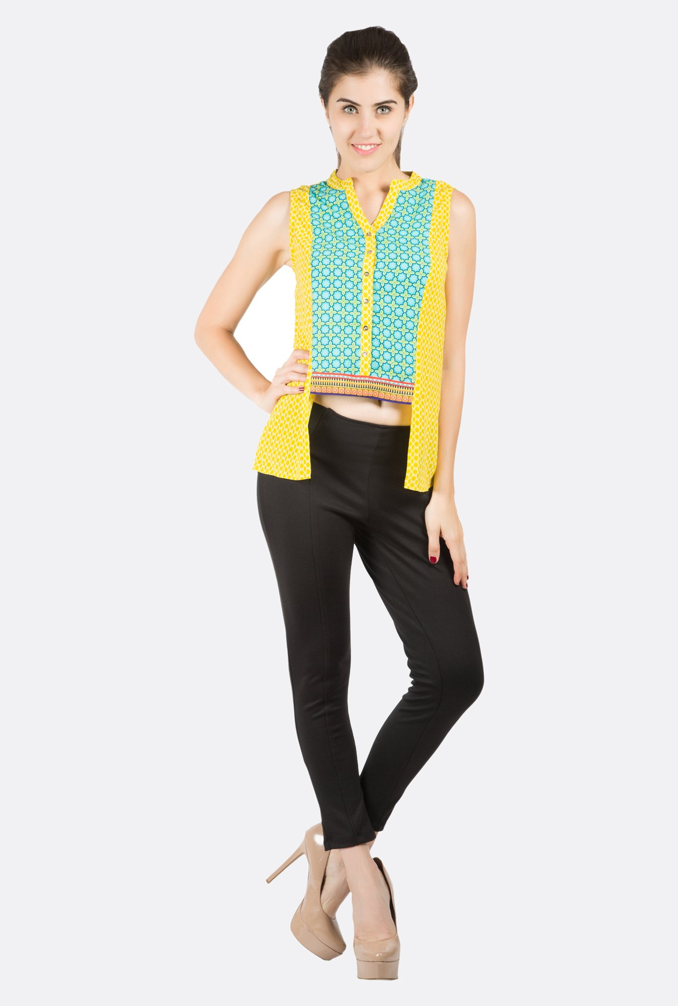 Fusion Beats Yellow Printed Sleeveless Top