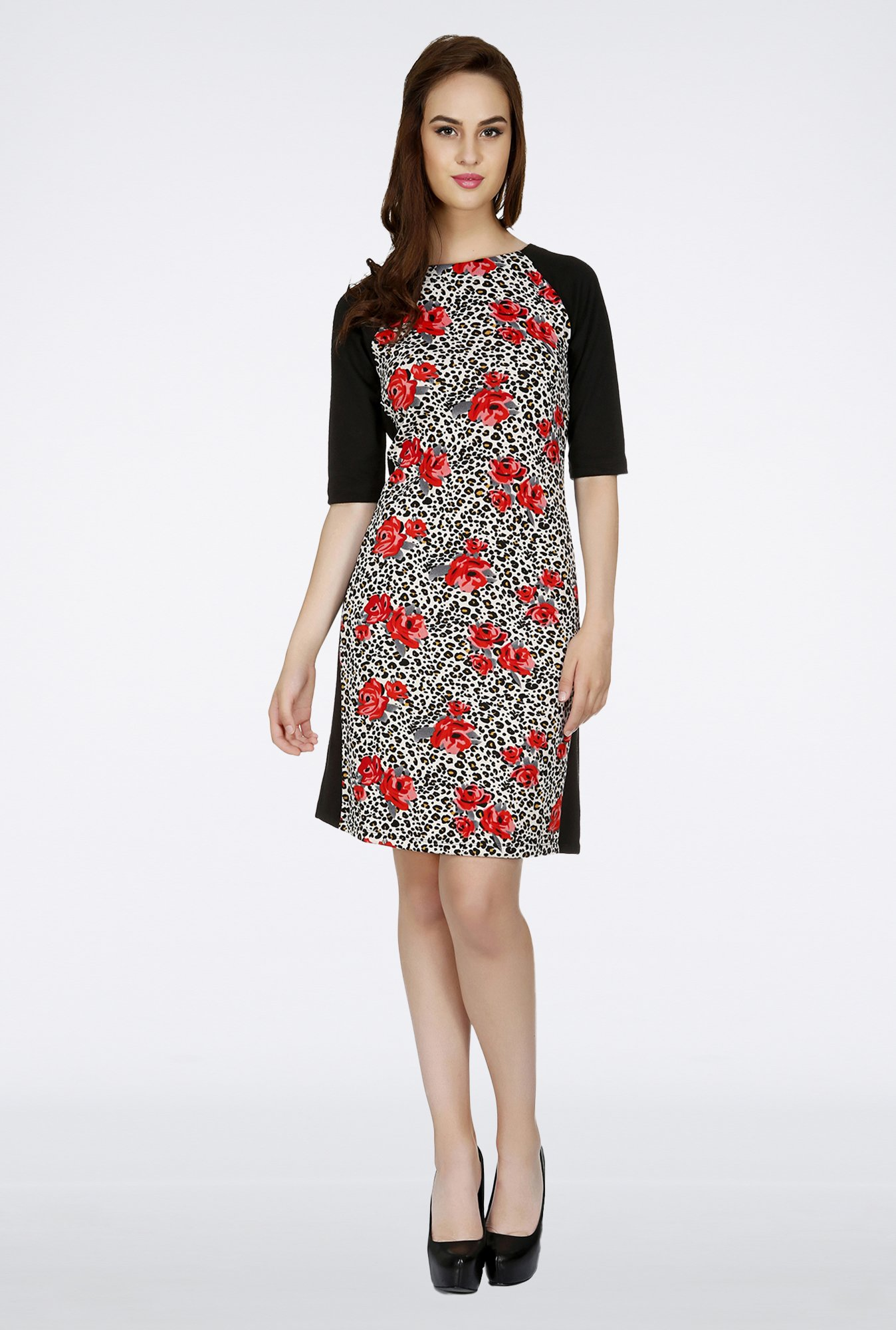 109 F Multicolor Floral Printed Dress