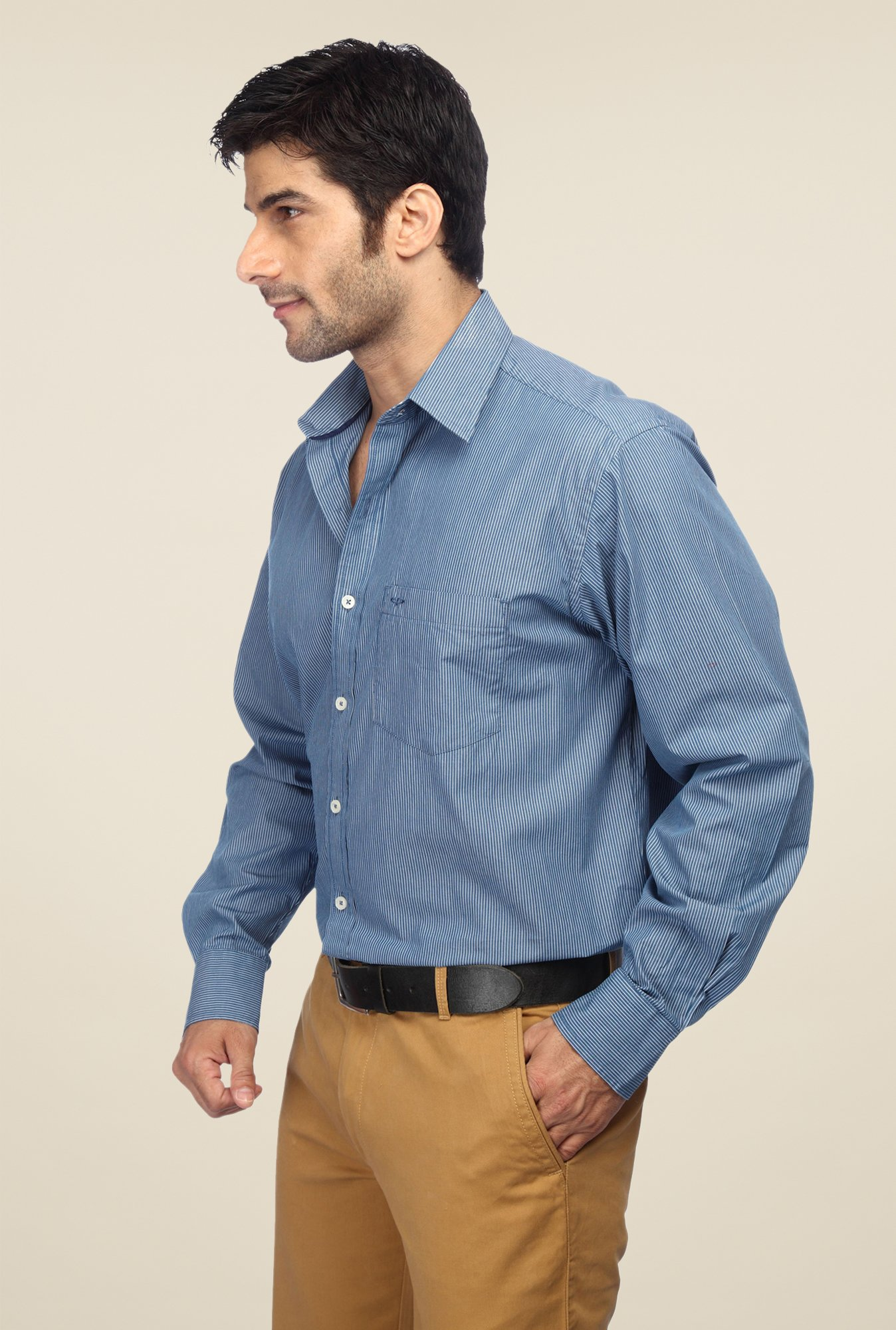 ColorPlus Blue Pin Striped Shirt