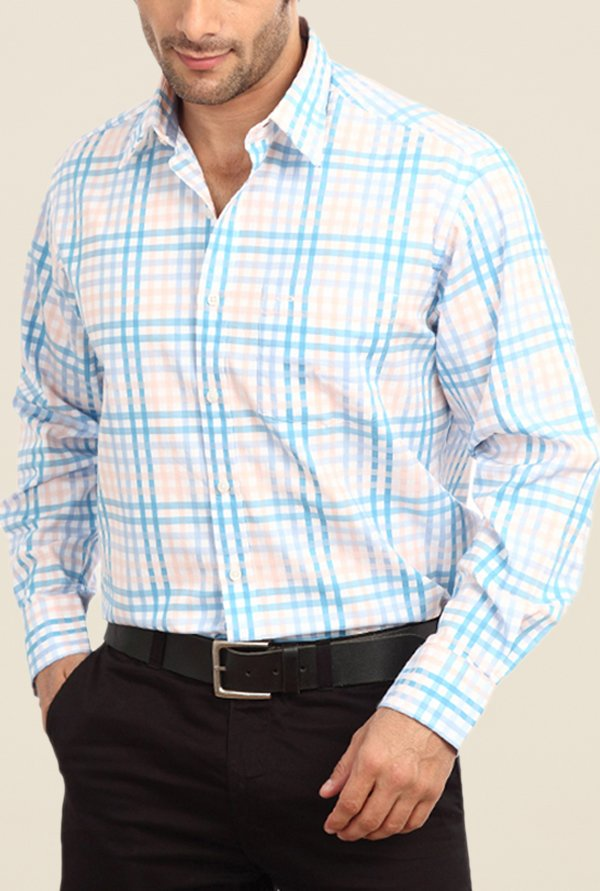 ColorPlus White & Blue Checks Shirt