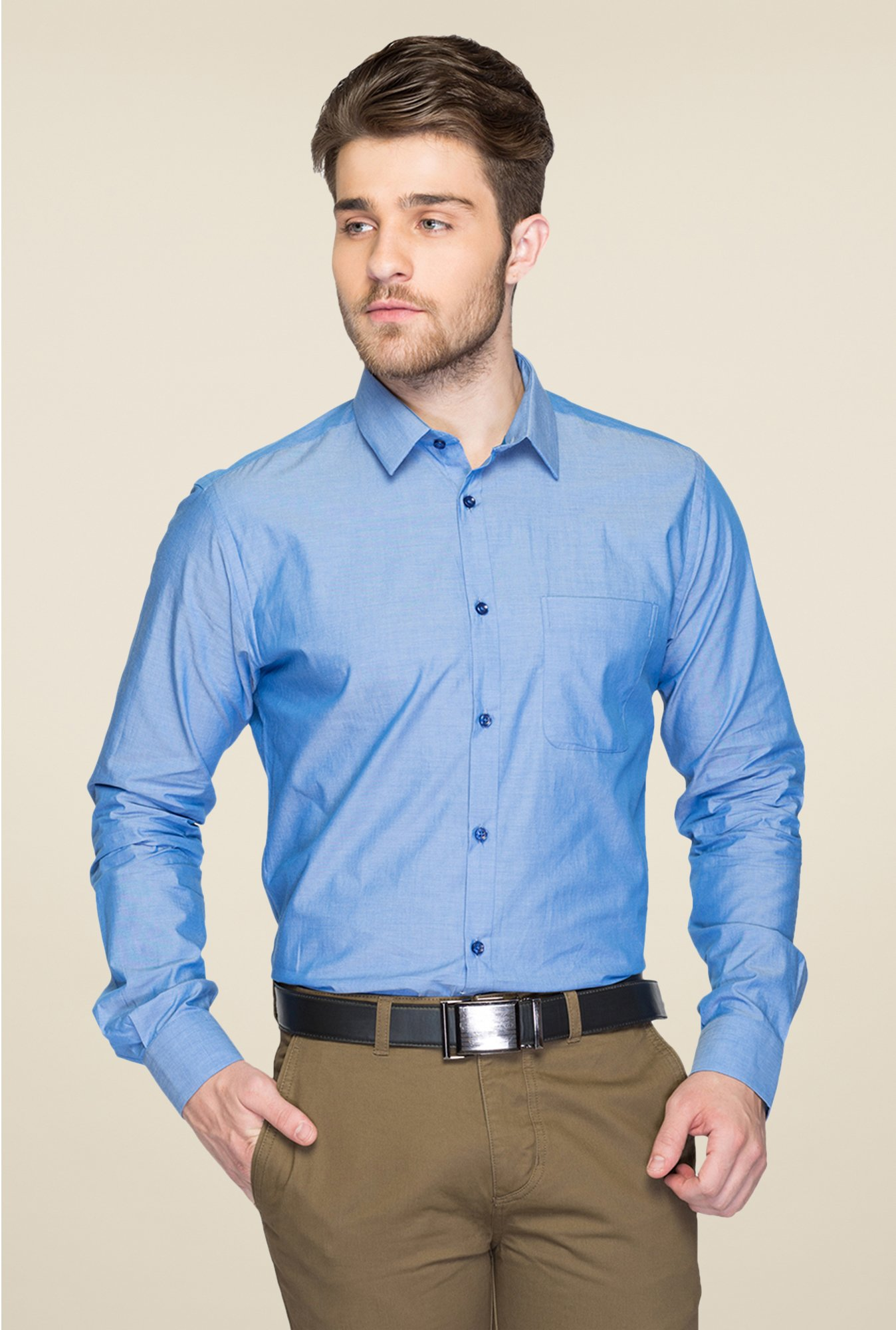 Park Avenue Blue Solid Cotton Shirt