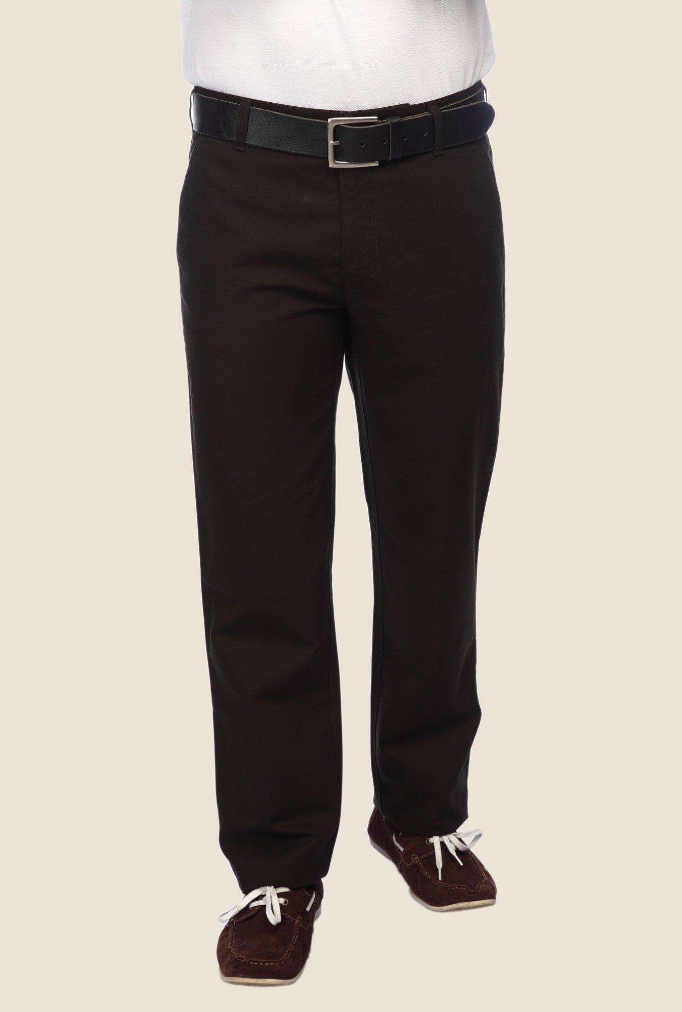 ColorPlus Brown Solid Trouser