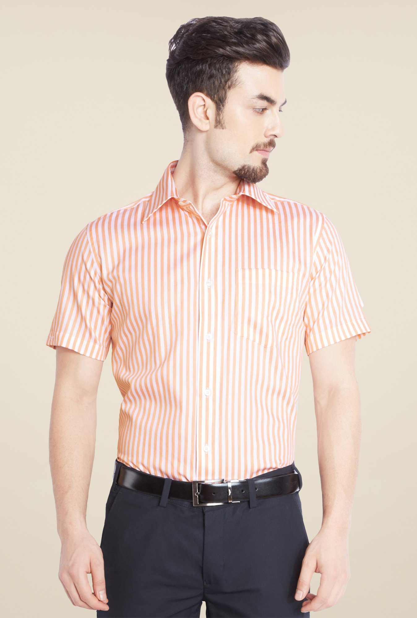Park Avenue Orange Striped Cotton Shirt